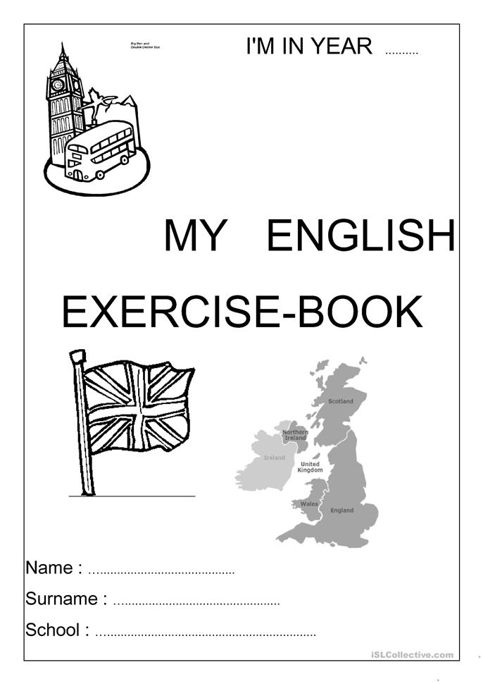 Book Cover Typography Worksheets : Exercise book cover worksheet free esl printable