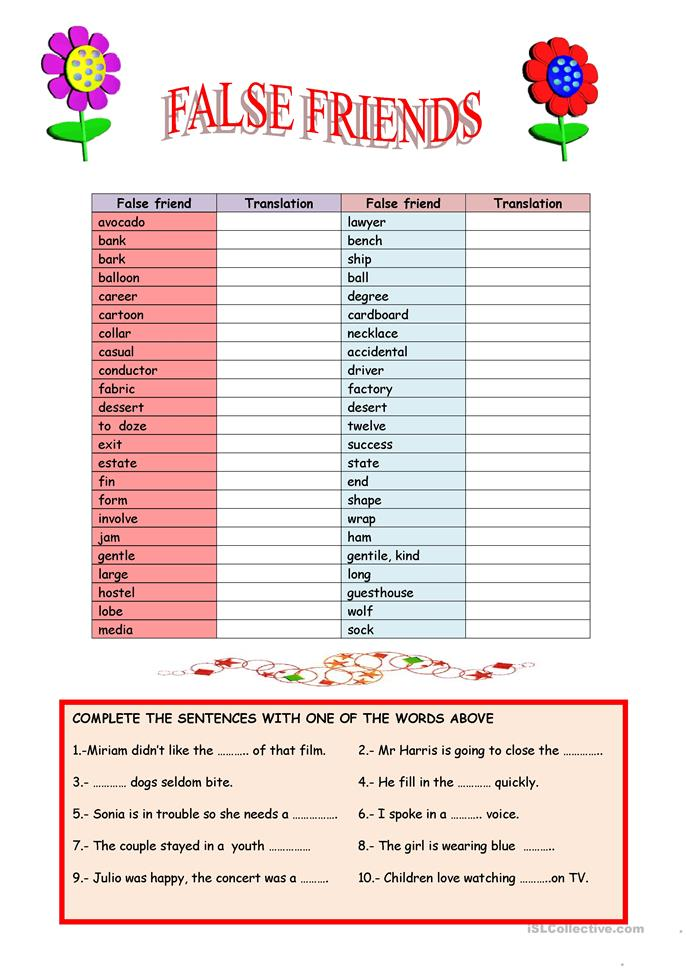 Examples of cognate words