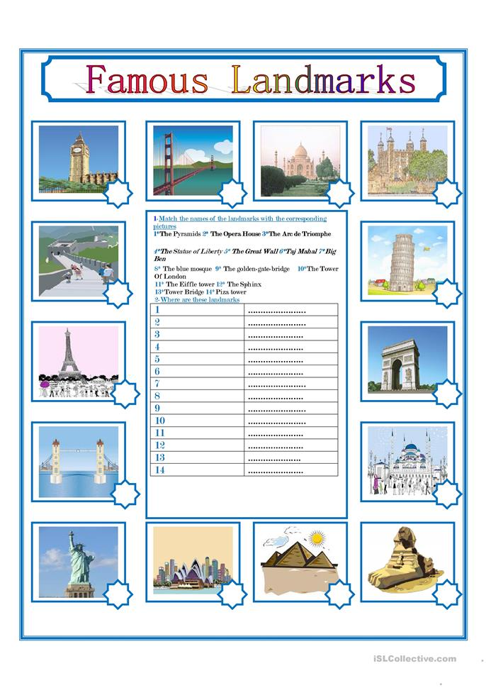 Images of Usa Monuments Worksheets - Wire Diagram Images Inspirations