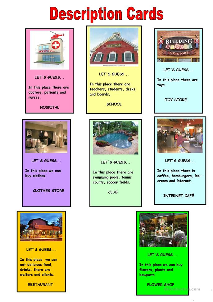 Guess the place cards - ESL worksheets