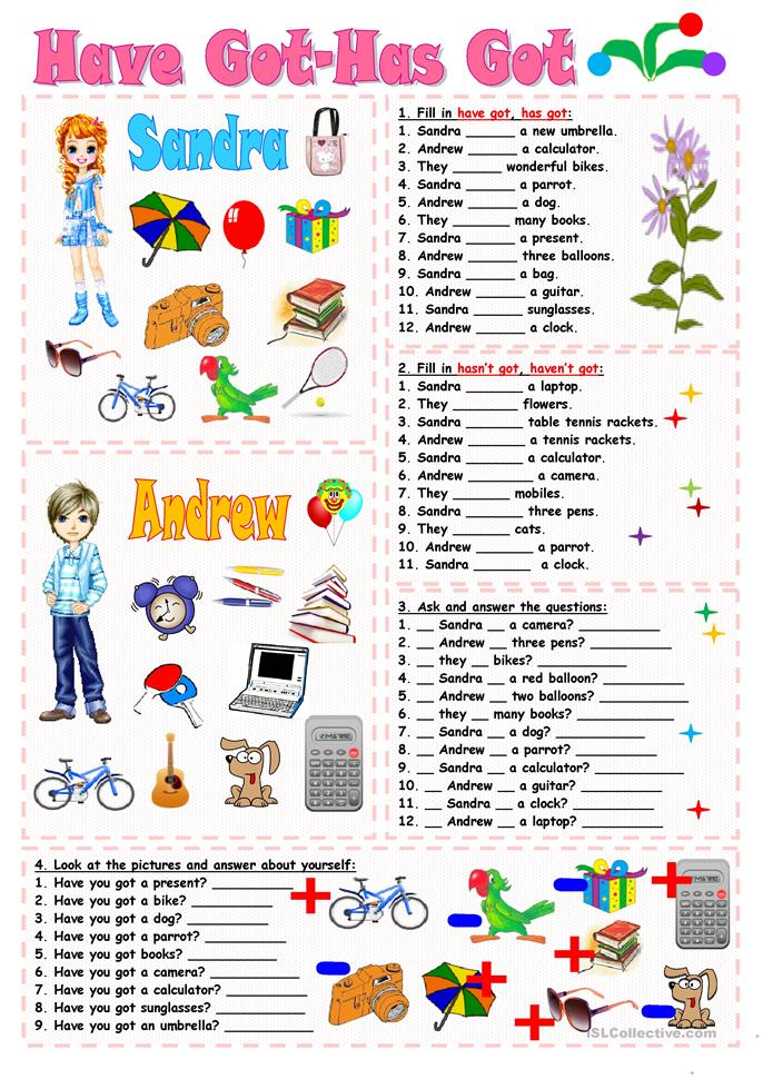 Have got-Has got - ESL worksheets