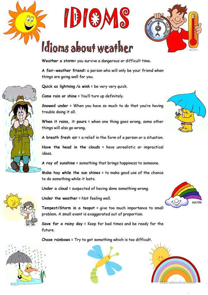 IDIOMS ABOUT WEATHER worksheet - Free ESL printable worksheets made by ...