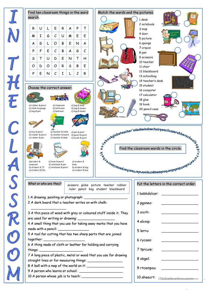 In the Classroom Vocabulary Exercises - ESL worksheets