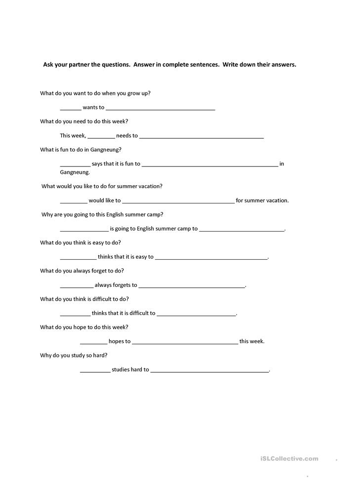 Infinitive with 'to' questionnaire   - ESL worksheets