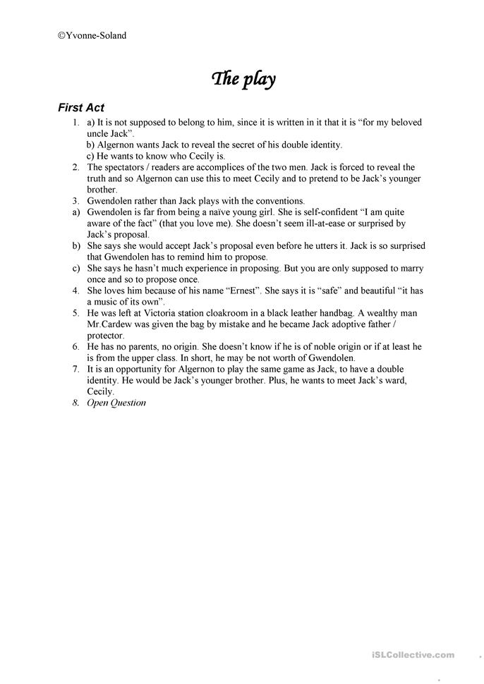 key questions on the importance of being earnest act i worksheet free esl printable. Black Bedroom Furniture Sets. Home Design Ideas