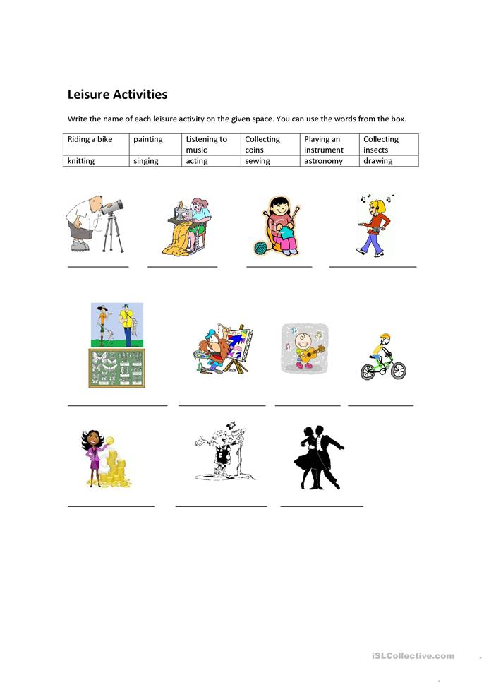 leisure activites Learning about leisure through activities learning objectives l-1 to understand leisure l-2 to have participant identify personal benefits he or she gains from leisure.
