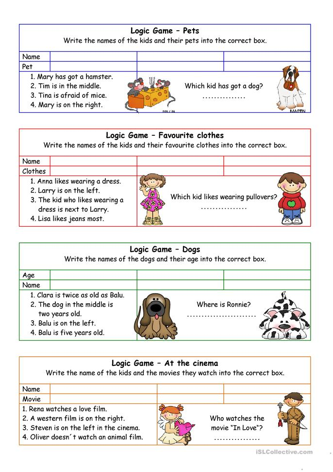Logic games for young learners (+key) - ESL worksheets