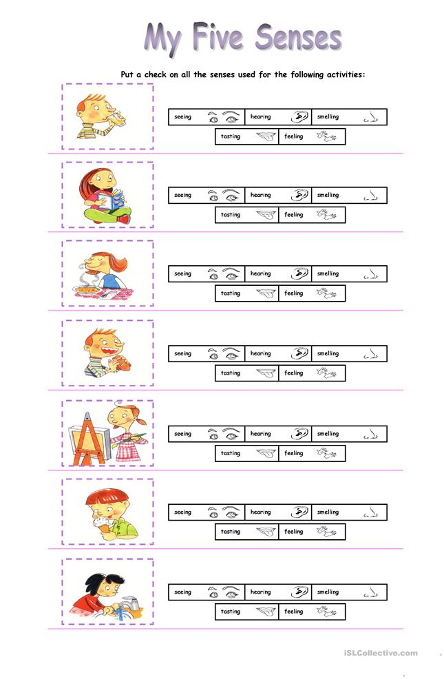 My five senses - ESL worksheets