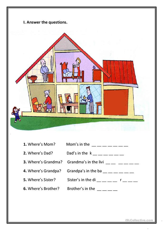 Printable Worksheets Home : Parts of the house worksheet free esl printable