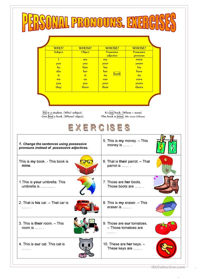 Personal and Possessive Pronouns - ESL worksheets
