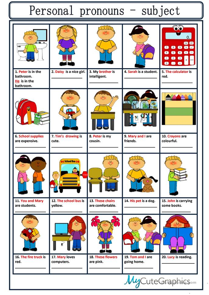 subject and object pronouns games pdf