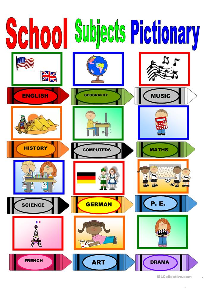 School Subjects Pictionary worksheet - Free ESL printable ...