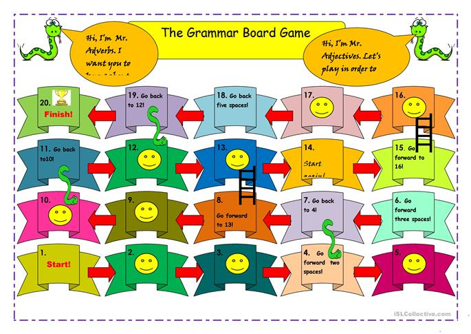 Snakes & ladder board game worksheet - Free ESL printable worksheets ...