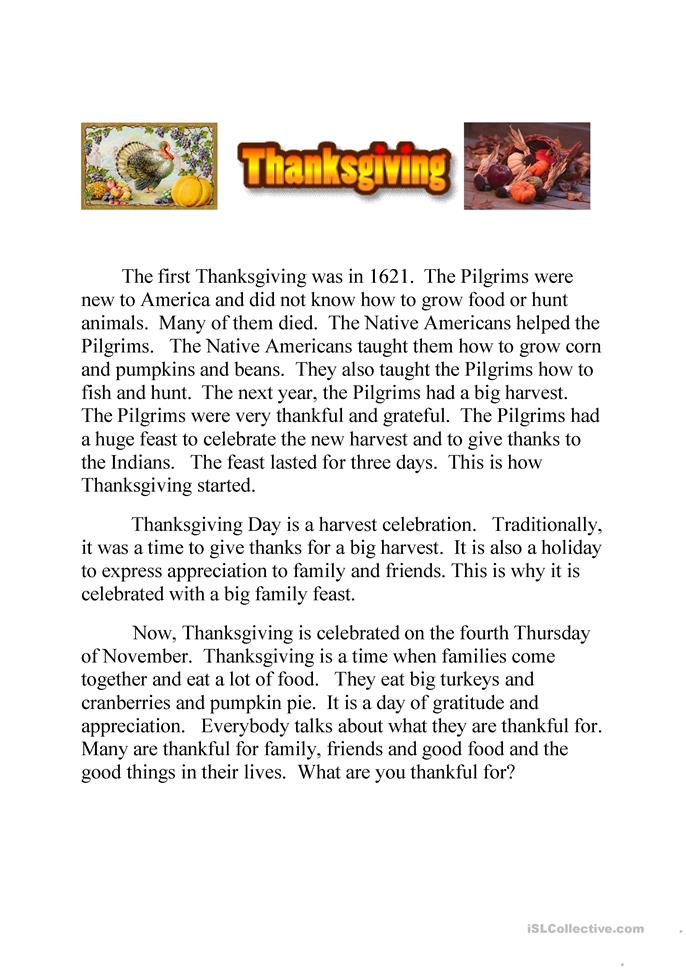 Thanksgiving text  and quiz (running dictation)  - ESL worksheets