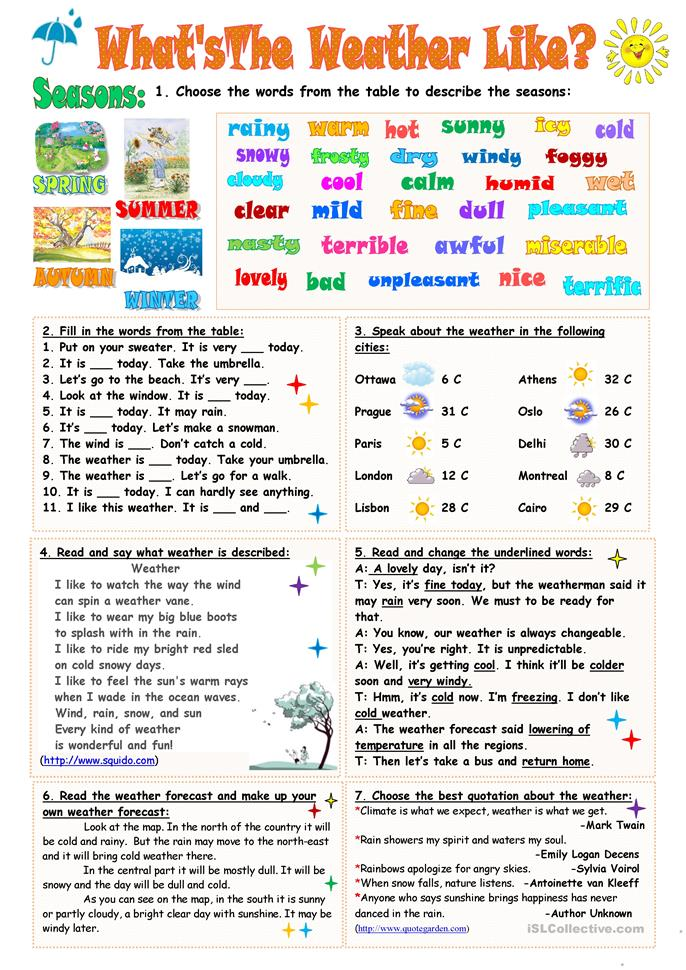 What's the weather like? - ESL worksheets