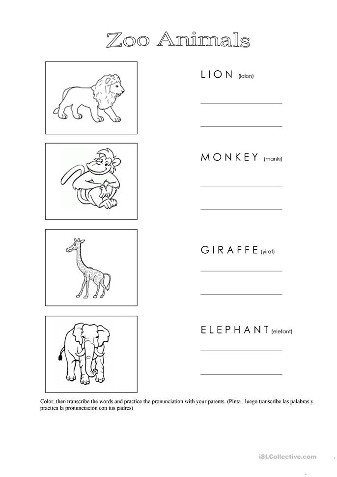 Zoo Animals - worksheet by Marcia Lima