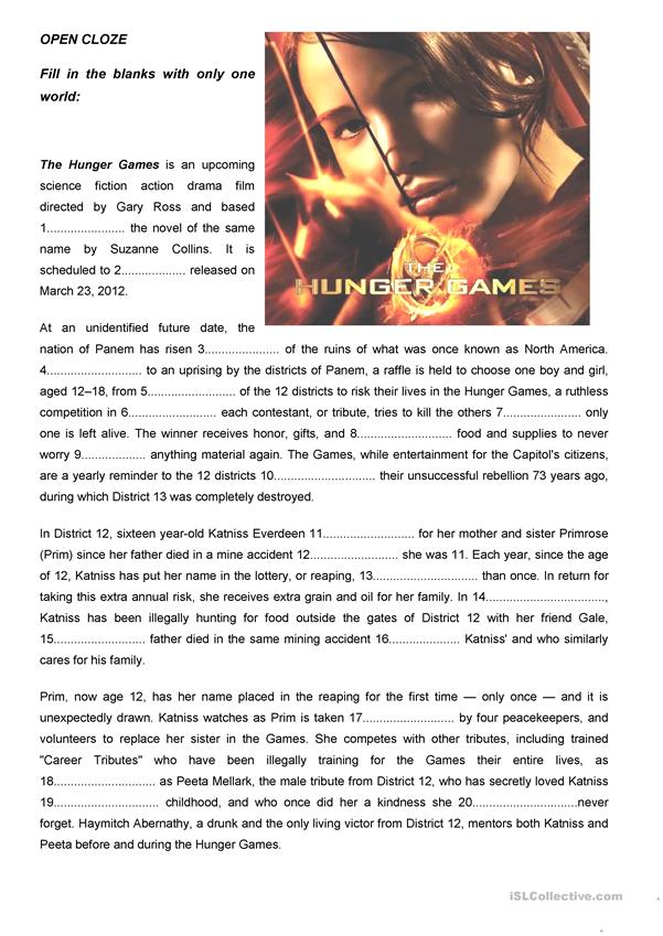 THE HUNGER GAMES OPEN CLOZE English ESL Worksheets