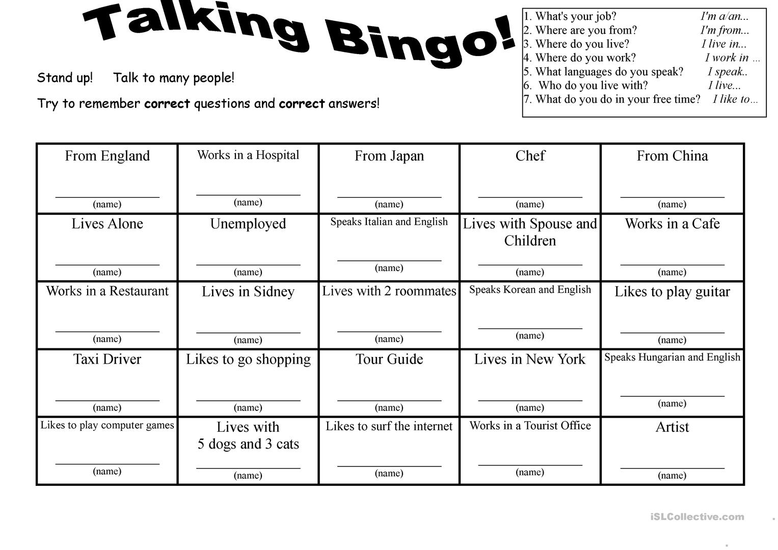 worksheet Bingo Worksheet 347 free esl bingo worksheets 7 questions talking with role play cards