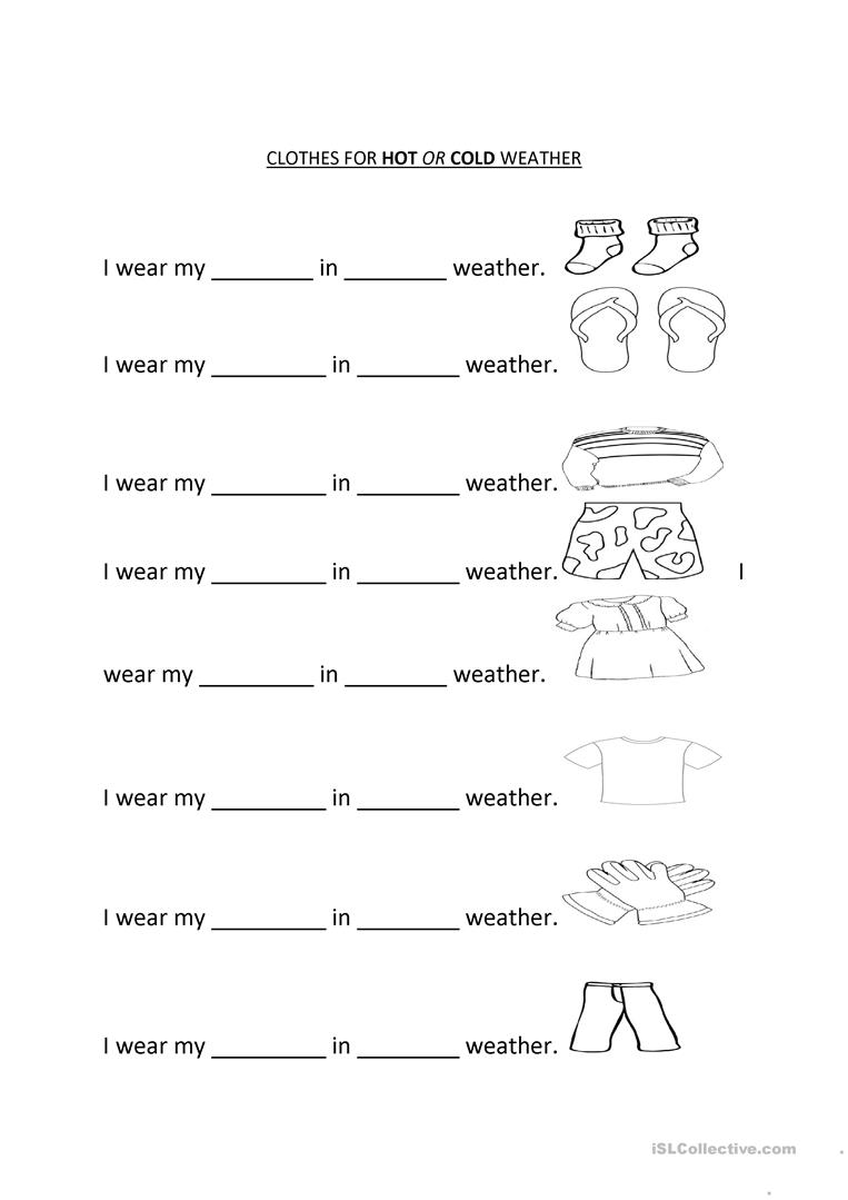 Clothes For Hot Or Cold Weather Worksheet Free Esl Printable