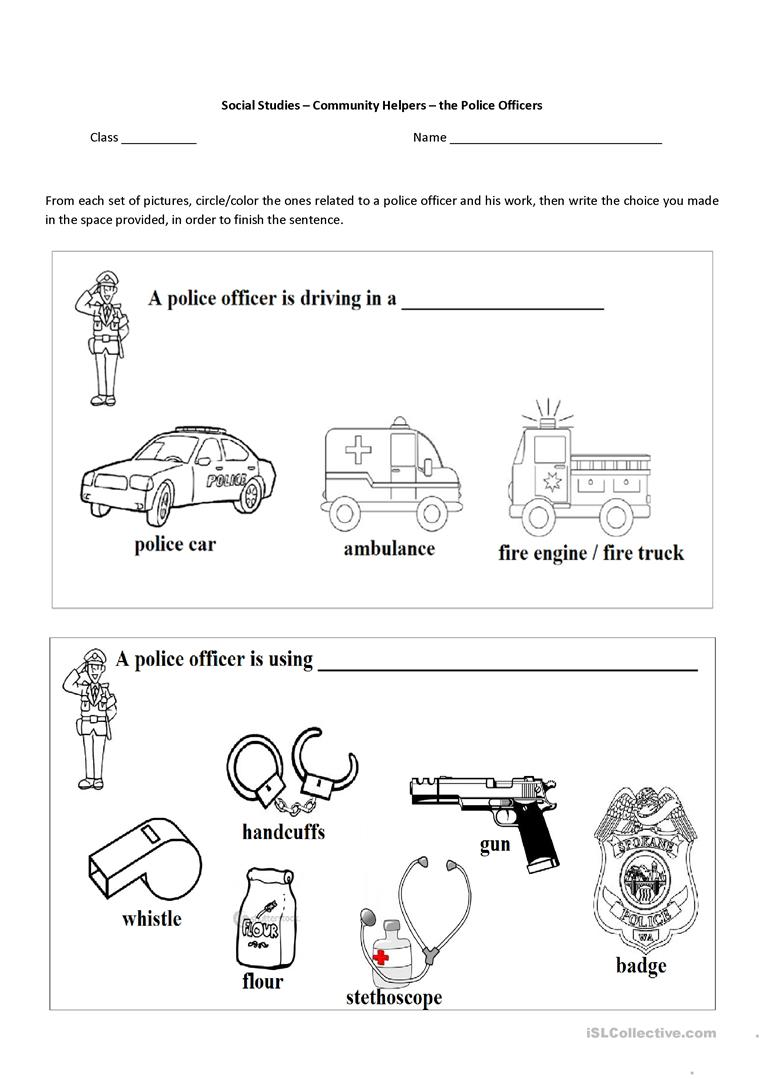 worksheet Community Worksheets 73923 free esl efl worksheets made by teachers for community helpers the police officer