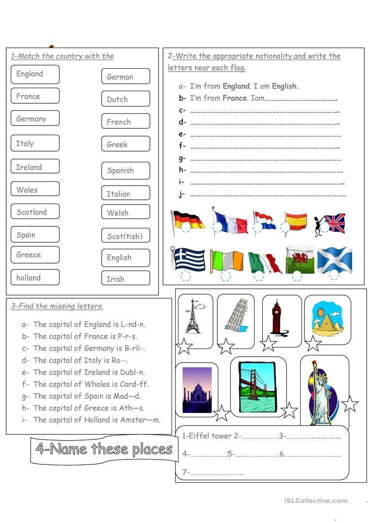 15 FREE ESL capital cities worksheets