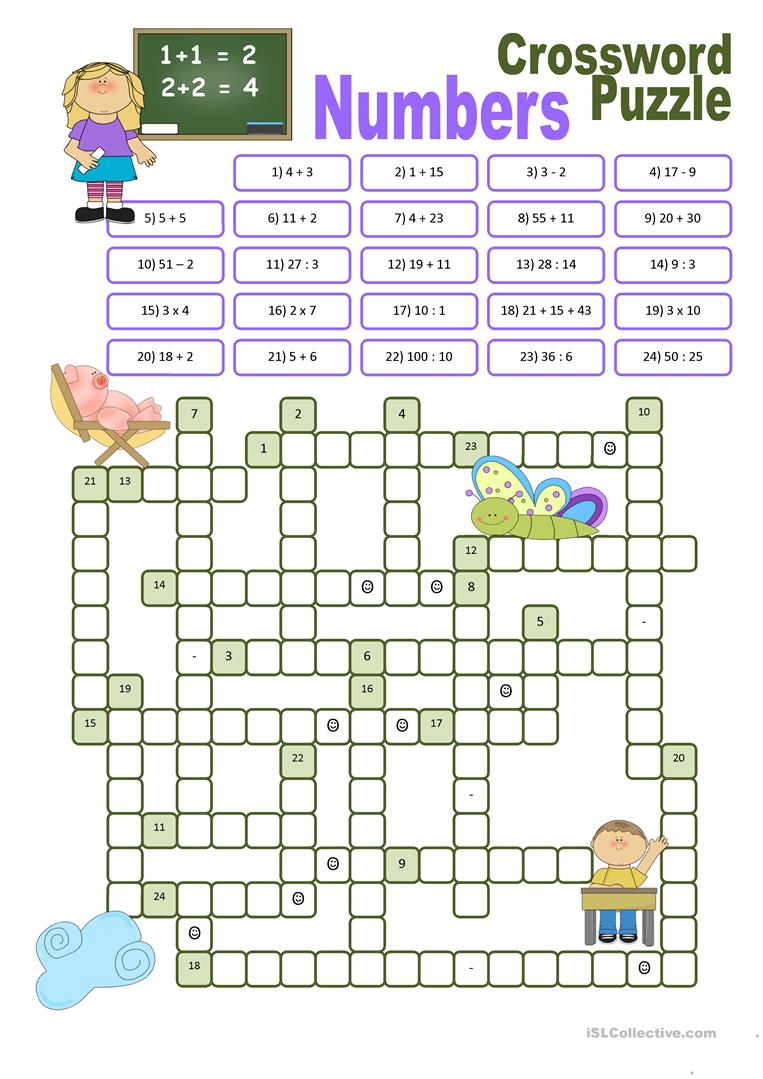 Crossword Puzzle Numbers Worksheet Free Esl Printable Worksheets