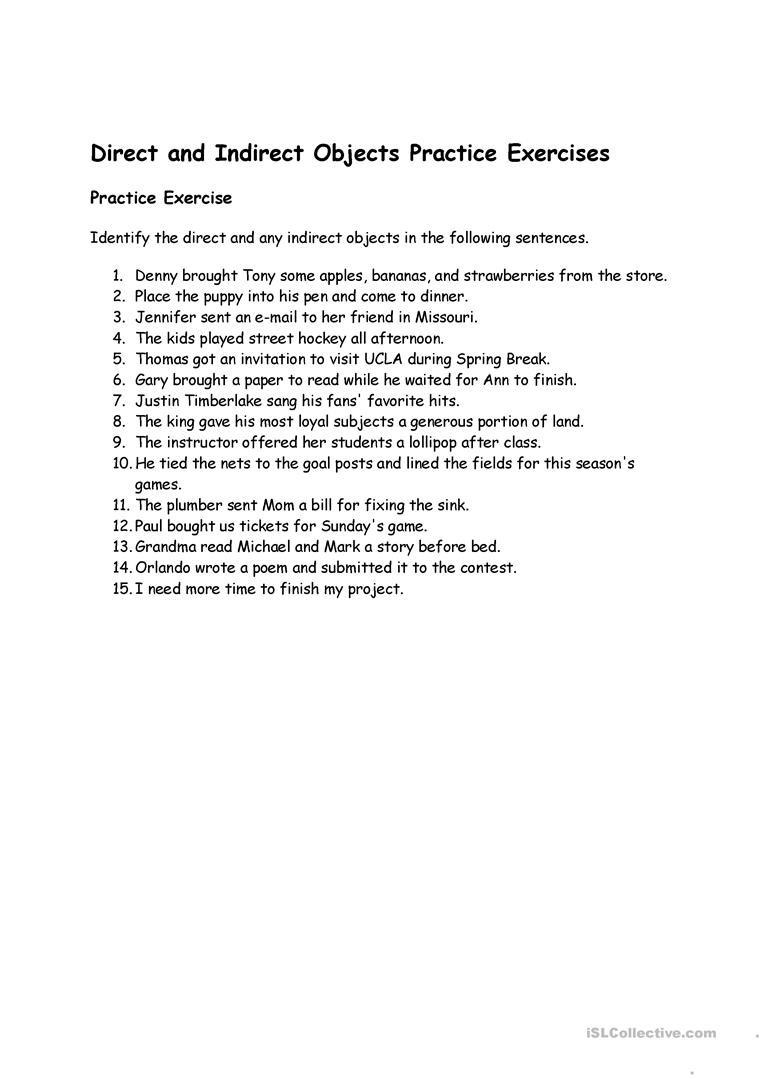 Direct Indirect Objects Worksheet Free Esl Printable