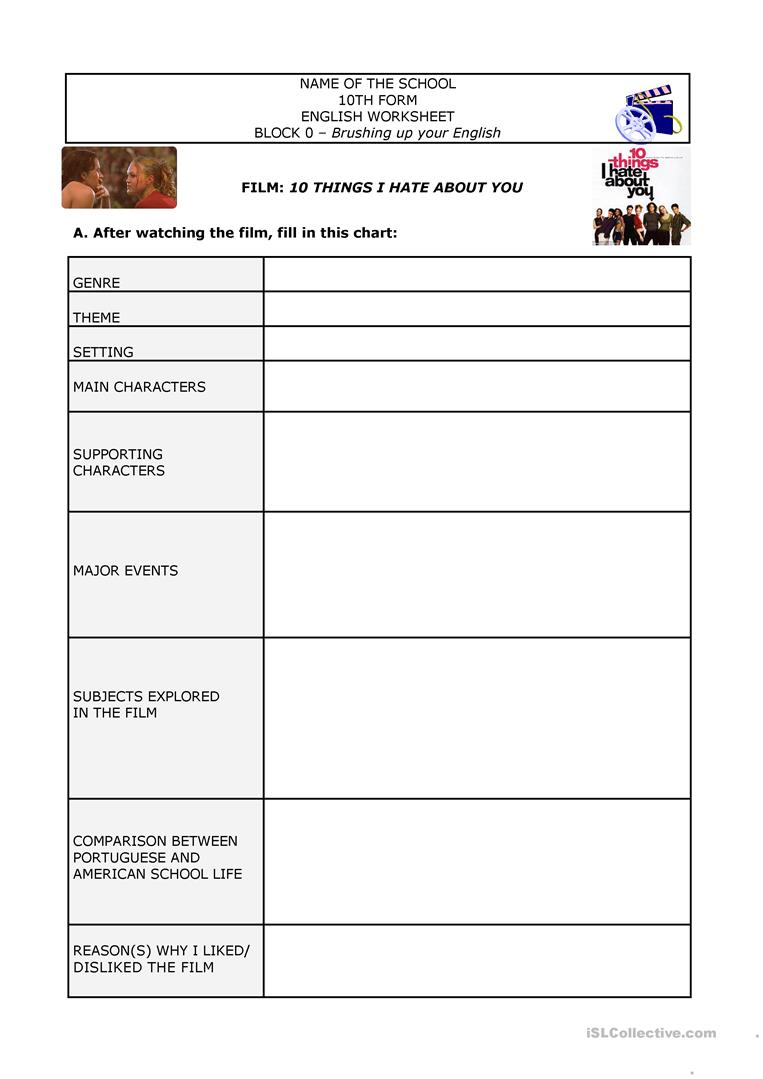 worksheet Detention Worksheets For Students film 10 things i hate about you worksheet free esl printable full screen