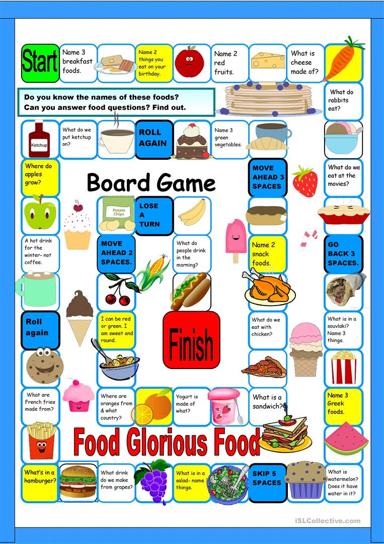 Food Boardgame Worksheet Free Esl Printable Worksheets Made By Teachers