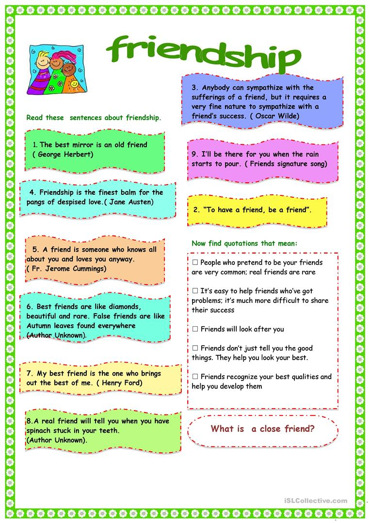 Friendship Worksheet Free Esl Printable Worksheets Made