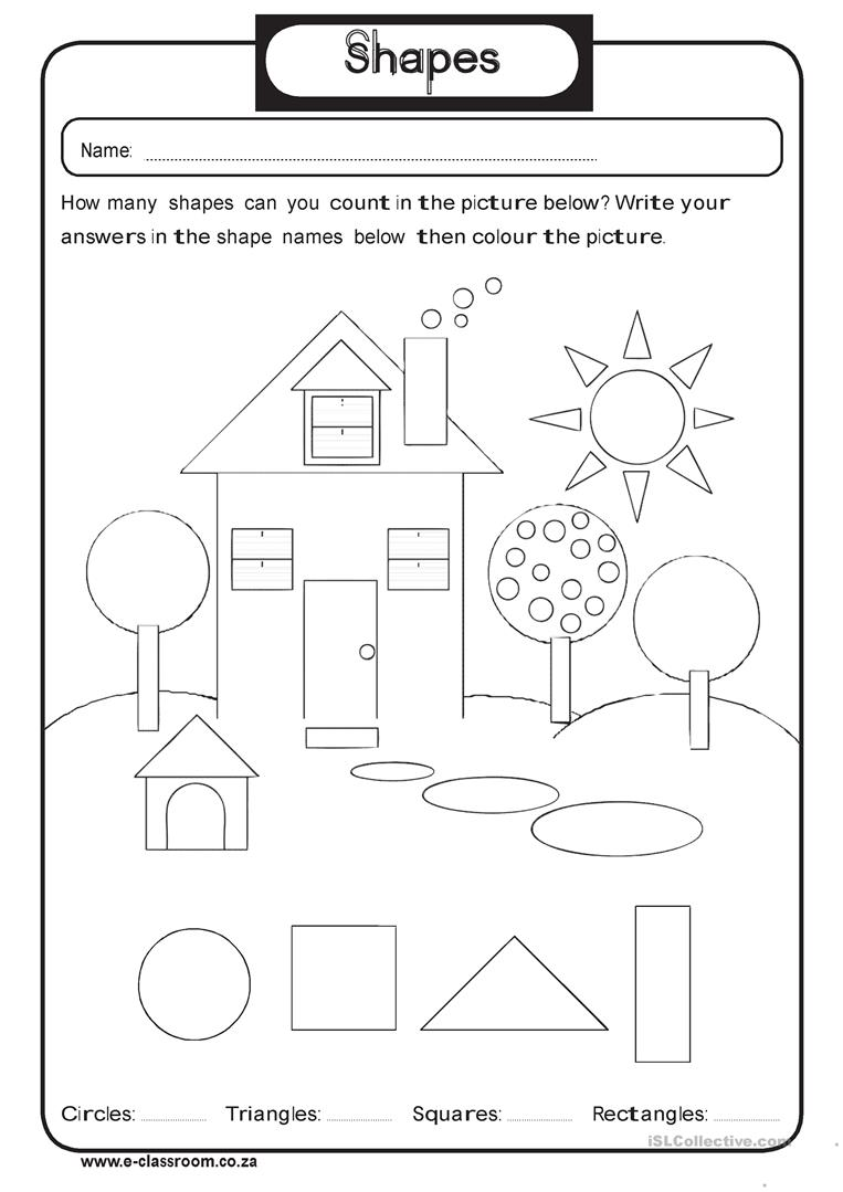 free esl kindergarten worksheets geometry shapes