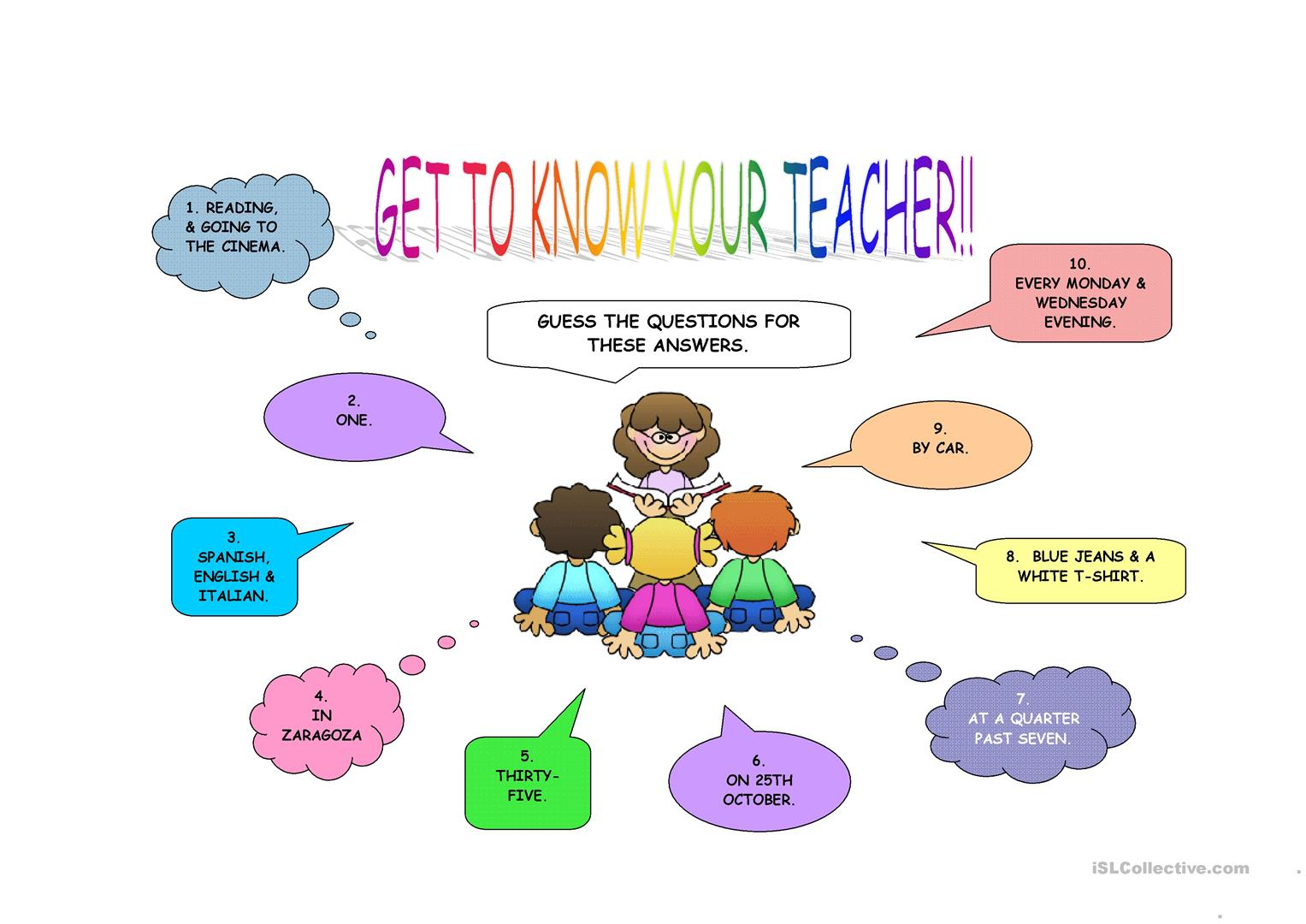 GET TO KNOW YOUR TEACHER  First day activity  - English ESL