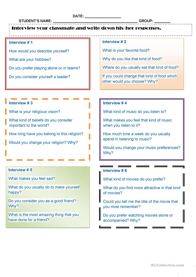 Interviews Activity - English ESL Worksheets