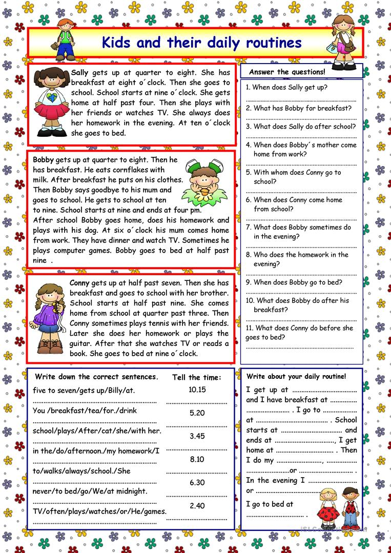 Kids and their daily routines (+Key) - English ESL Worksheets