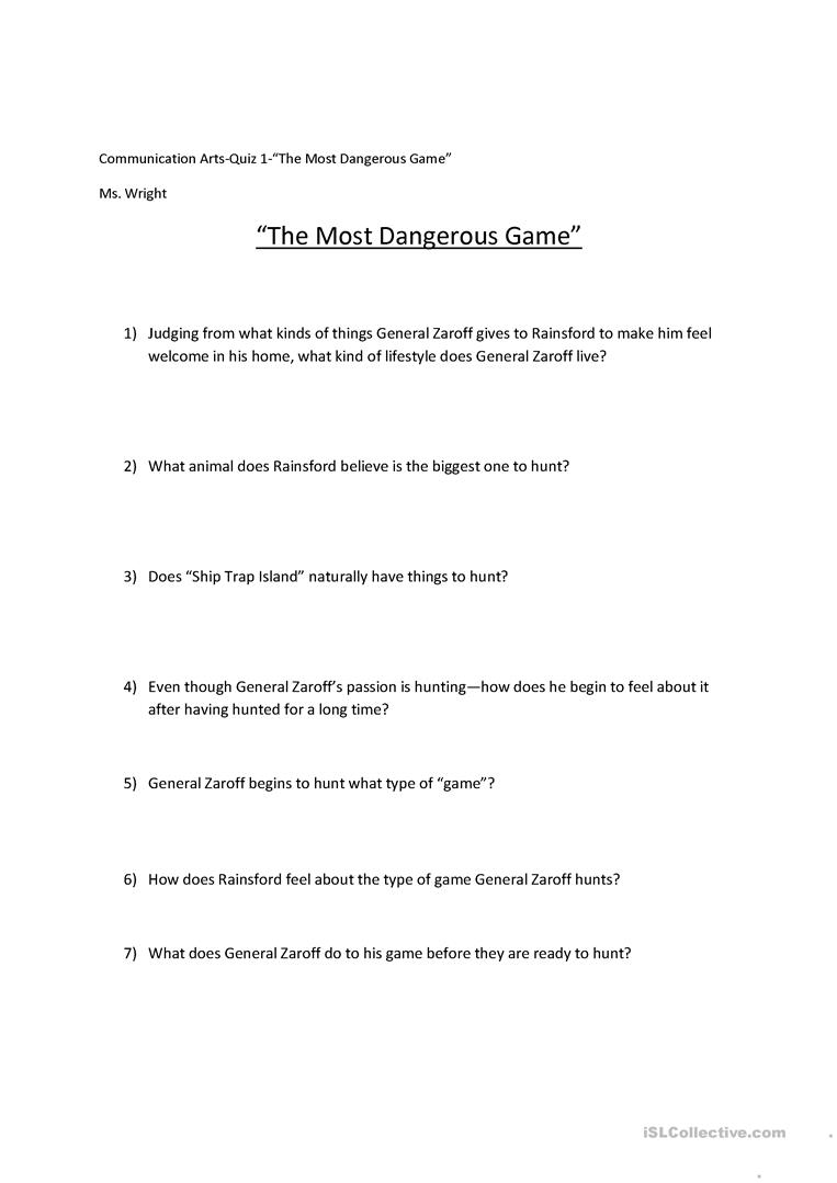 worksheet The Most Dangerous Game Worksheets most dangerous game worksheet free esl printable worksheets made full screen