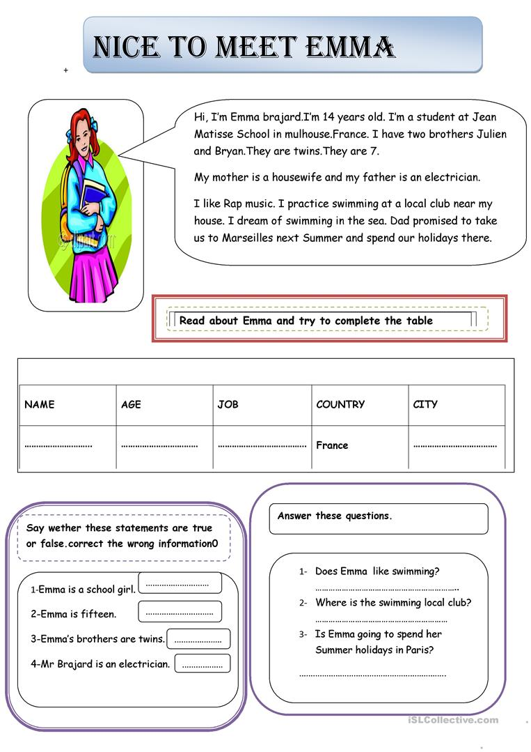 Nice To Meet You Emma English Esl Worksheets For Distance Learning And Physical Classrooms