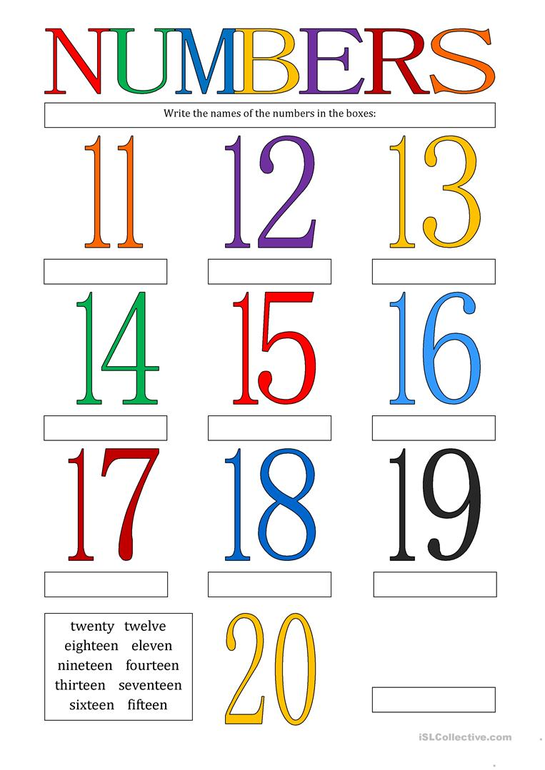 Numbers 11 - 20 worksheet - Free ESL printable worksheets made by ...
