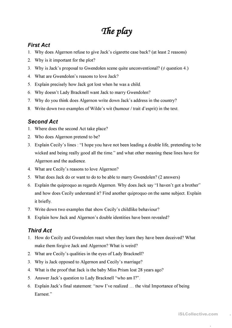 essay questions on the importance of being earnest 19012018  full glossary for the importance of being earnest essay of grave importance the importance of being earnest essay questions.