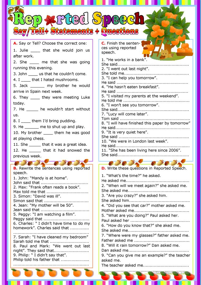 Reported Speech   English ESL Worksheets for distance learning and ...