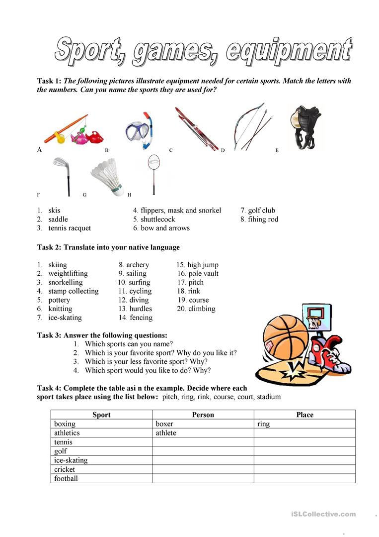 sport games equipment worksheet free esl printable. Black Bedroom Furniture Sets. Home Design Ideas