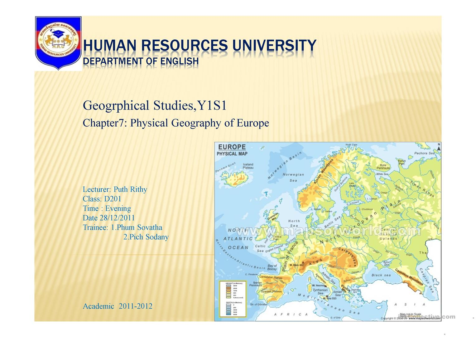 The Physical Geography of Europe, ppt worksheet   Free ESL ...