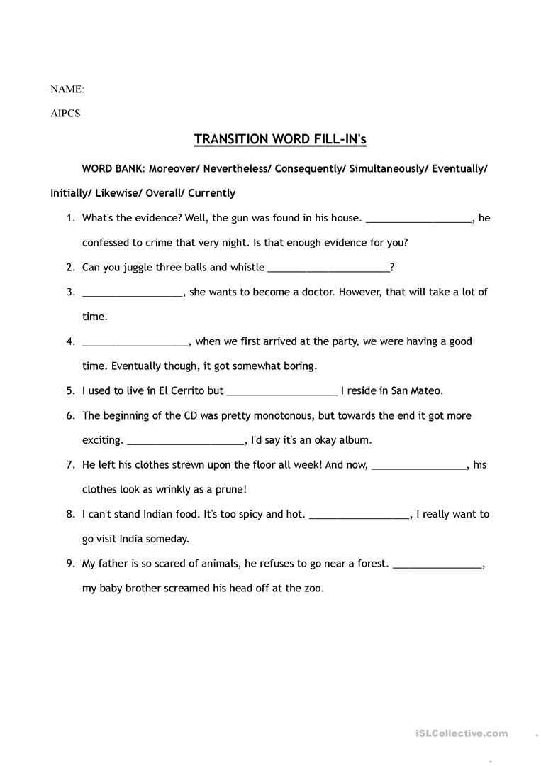 Worksheets Transition Words Worksheet transition words worksheet free esl printable worksheets made by full screen