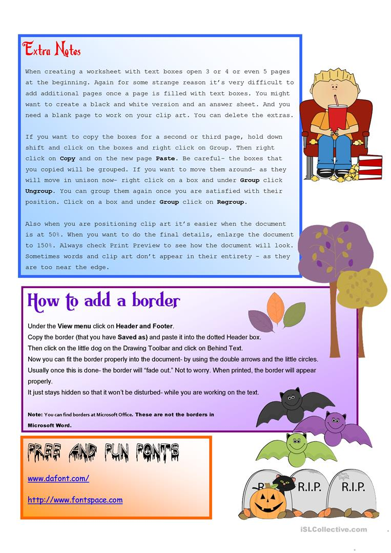 Preview A Text Worksheet : Tutorial how to create worksheets using text boxes
