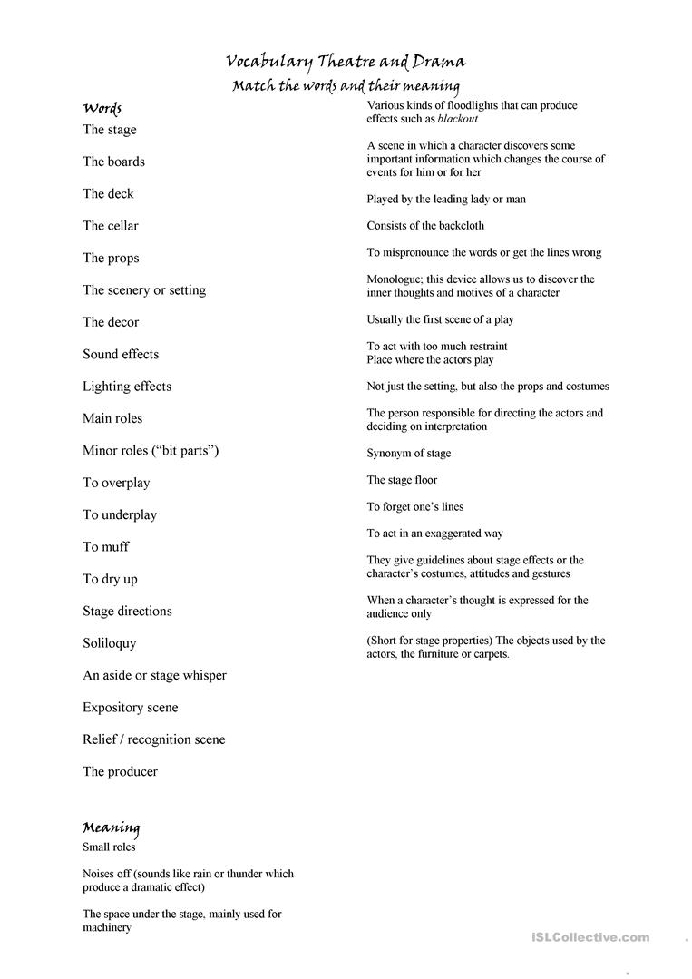 vocabulary about theatre worksheet free esl printable worksheets made by teachers. Black Bedroom Furniture Sets. Home Design Ideas