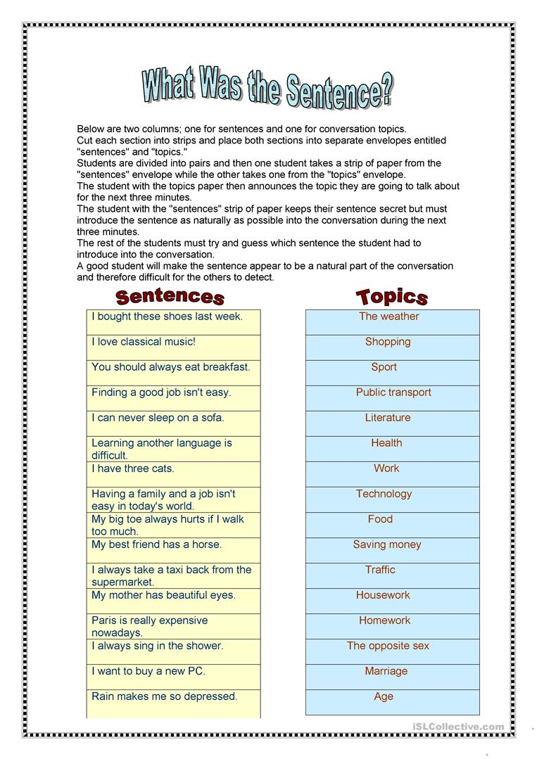 What was the sentence? - English ESL Worksheets