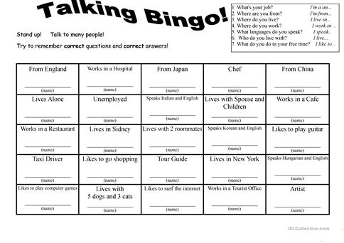 7 Questions Talking Bingo with Role-play Cards worksheet - Free ESL ...