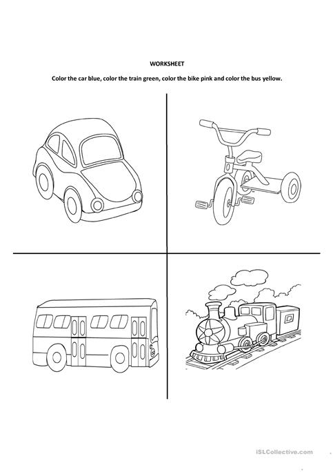 worksheet for land transport kidz activities. Black Bedroom Furniture Sets. Home Design Ideas