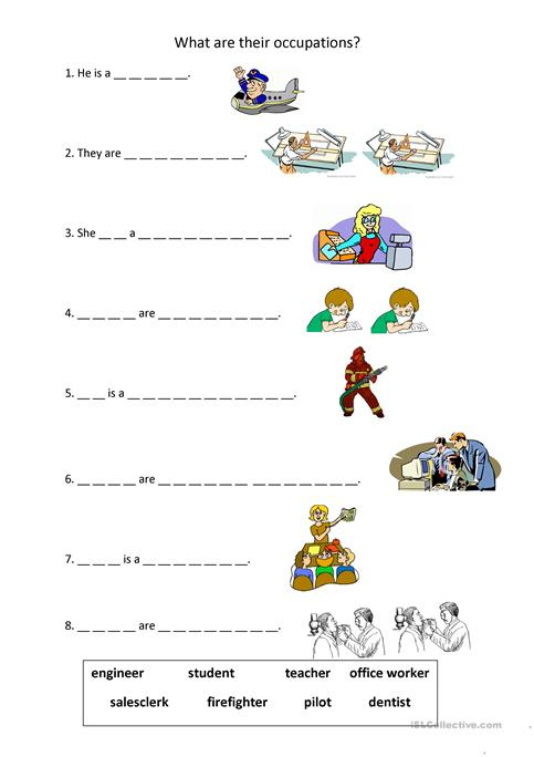 Occupations - He is/ They are worksheet - Free ESL printable ...