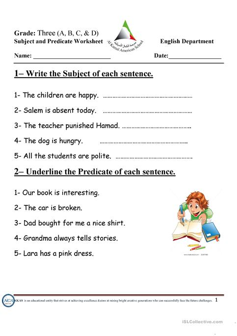 subject and predicate worksheet - Free ESL printable worksheets made ...