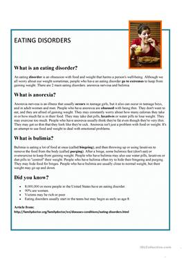 eating disorders reading comprehension Start studying hd fs 2 learn vocabulary, terms, and more with flashcards, games where reading comprehension strategies are taught, allowing the student to take on the role of the teacher which of the following is the term for a severe eating disorder in which individuals refuse to.